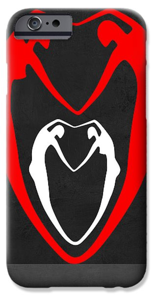 Love Making Paintings iPhone Cases - Red and White Heart iPhone Case by Naxart Studio