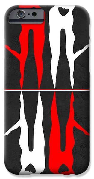 Love Making Paintings iPhone Cases - Red and White Kiss Reflection iPhone Case by Naxart Studio