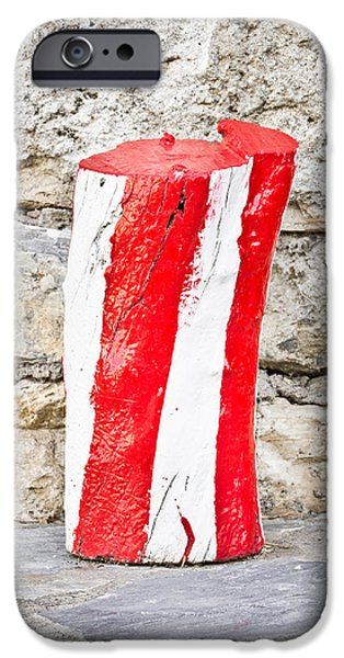 Painted Wood iPhone Cases - Red and white log iPhone Case by Tom Gowanlock