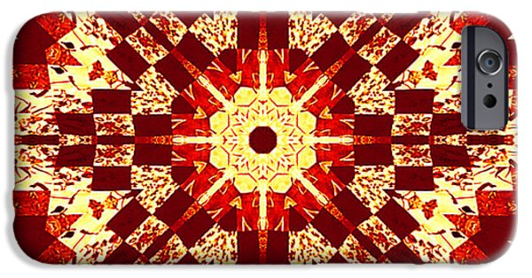 Rust Tapestries - Textiles iPhone Cases - Red and White Patchwork Art iPhone Case by Barbara Griffin