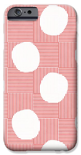 Stripes iPhone Cases - Red and White Poof  iPhone Case by Linda Woods