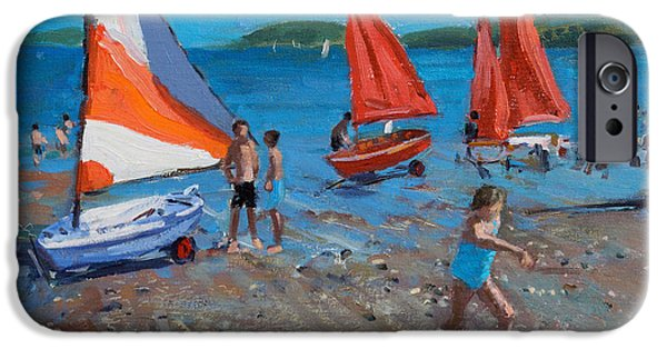 Sailboat Ocean iPhone Cases - Red and White Sails iPhone Case by Andrew Macara