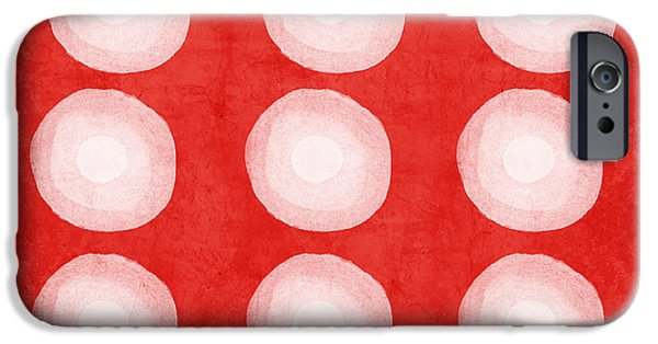 Geometric Abstract Art iPhone Cases - Red and White Shibori Circles iPhone Case by Linda Woods