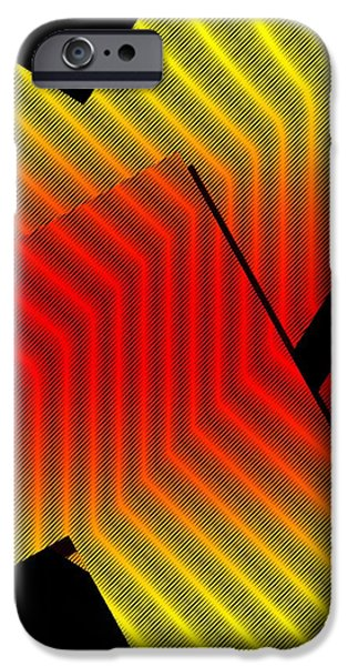 Transparency Geometric iPhone Cases - Red and Yellow Design with Lines iPhone Case by Mario  Perez