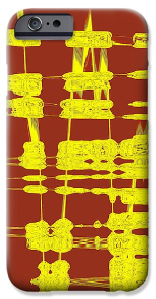Ben Gertsberg Digital Art iPhone Cases - Red And Yellow Wave No 3 iPhone Case by Ben and Raisa Gertsberg