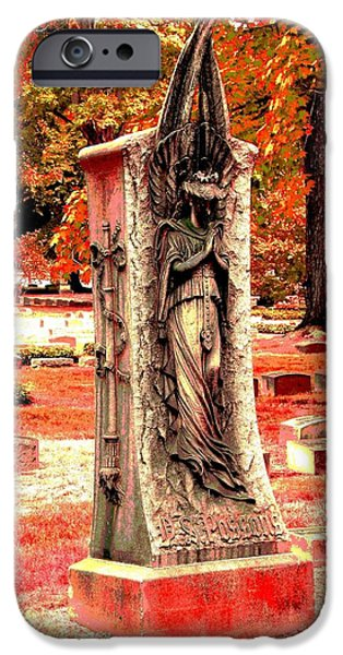 Cemetary iPhone Cases - Red Angel iPhone Case by Mark Malitz