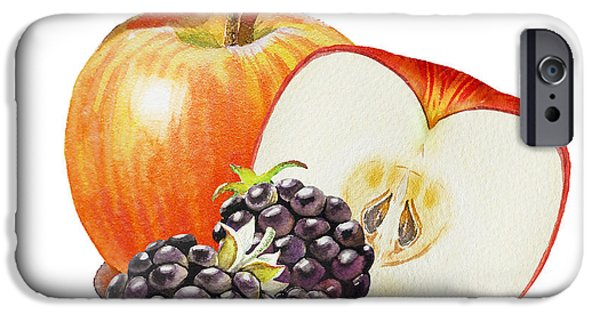 Nature Study Paintings iPhone Cases - Red Apple And Blackberries iPhone Case by Irina Sztukowski