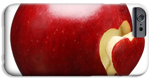 Isolated iPhone Cases - Red Apple With Heart iPhone Case by Johan Swanepoel