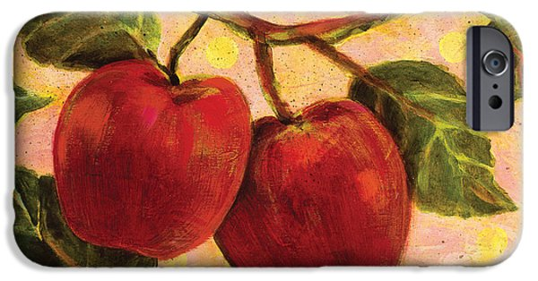 Fruit Tree Paintings iPhone Cases - Red Apples on a Branch iPhone Case by Jen Norton