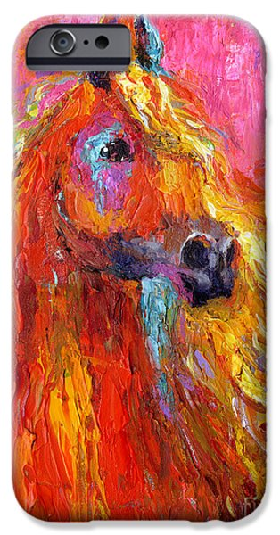 Equestrian iPhone Cases - Red Arabian Horse Impressionistic painting iPhone Case by Svetlana Novikova
