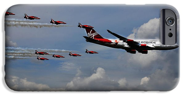 Boeing 747 iPhone Cases - Red Arrows and Lady Penelope iPhone Case by Mark Rogan