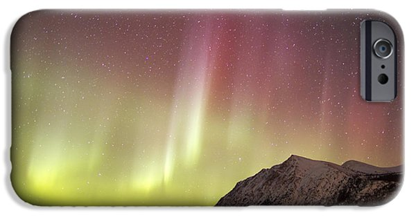 Atmospheric iPhone Cases - Red Aurora Borealis Over Carcross iPhone Case by Joseph Bradley