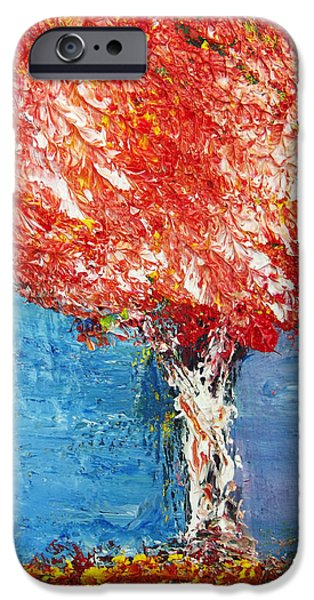 Autumn Scenes Drawings iPhone Cases - Red Autumn Tree iPhone Case by Melinda Firestone-White