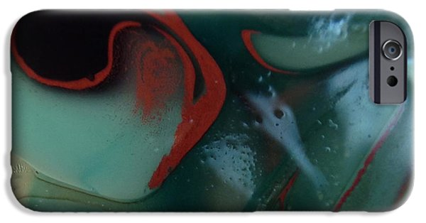 Modern Abstract Glass Art iPhone Cases - Red Axe iPhone Case by Gaby Tench