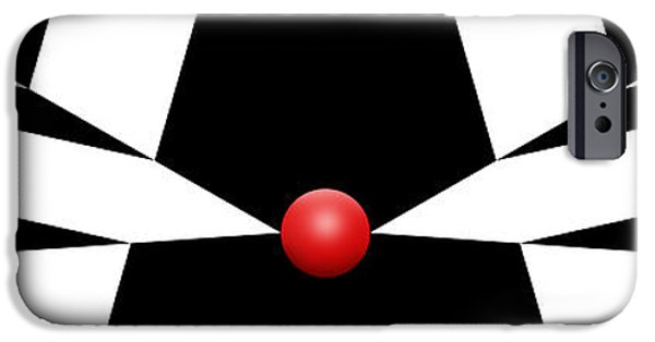 Modern Abstract iPhone Cases - Red Ball 11 H Panoramic iPhone Case by Mike McGlothlen