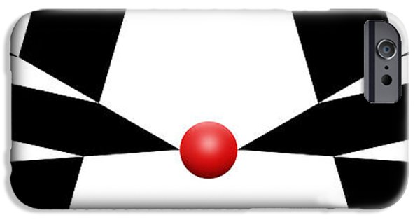 Red Abstract iPhone Cases - Red Ball 11a H Panoramic iPhone Case by Mike McGlothlen