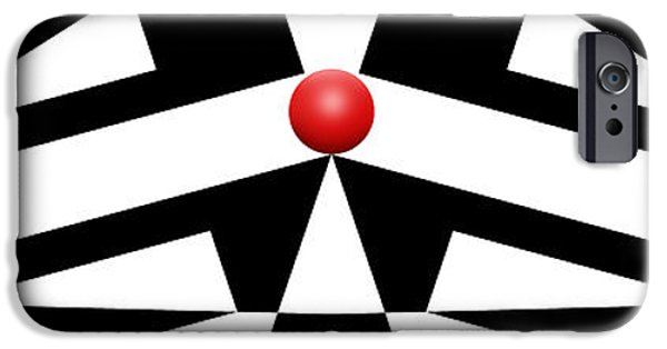 Modern Abstract iPhone Cases - Red Ball 12 H Panoramic iPhone Case by Mike McGlothlen