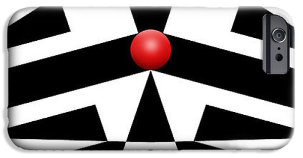 Red Abstract iPhone Cases - Red Ball 12a H Panoramic iPhone Case by Mike McGlothlen