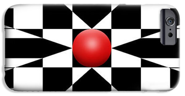 Modern Abstract iPhone Cases - Red Ball 1 Panoramic iPhone Case by Mike McGlothlen