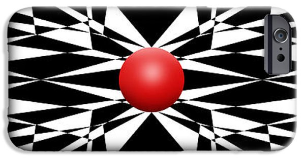 Modern Abstract iPhone Cases - Red Ball 16 Panoramic iPhone Case by Mike McGlothlen