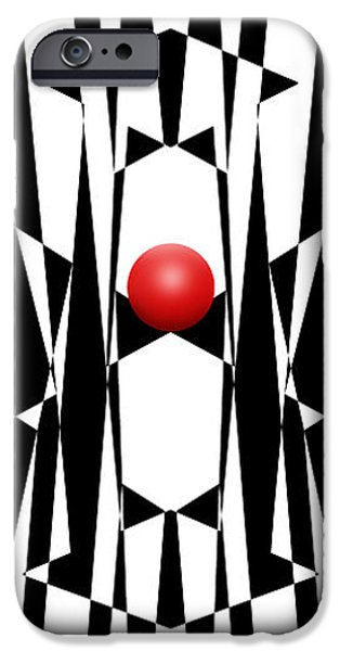 Red Abstract iPhone Cases - Red Ball 20 V Panoramic iPhone Case by Mike McGlothlen
