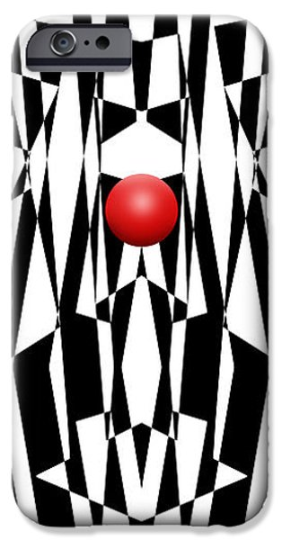 Red Abstract iPhone Cases - Red Ball 21 V Panoramic iPhone Case by Mike McGlothlen