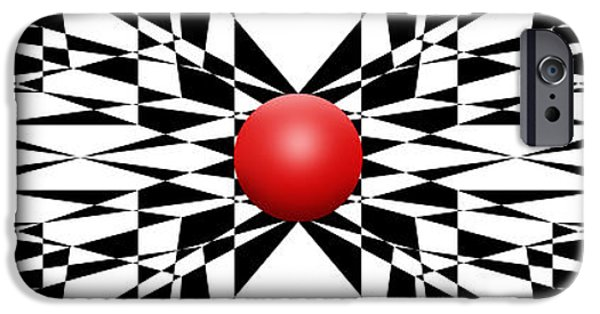 Modern Abstract iPhone Cases - Red Ball 22 Panoramic iPhone Case by Mike McGlothlen