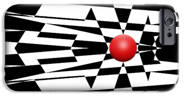 Op iPhone Cases - Red Ball 23 iPhone Case by Mike McGlothlen