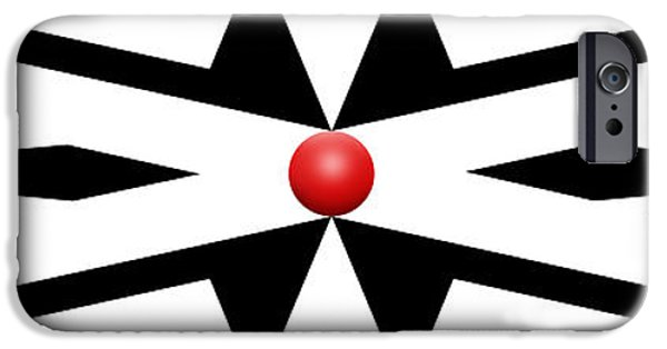 Red Abstract iPhone Cases - Red Ball 25 Panoramic iPhone Case by Mike McGlothlen