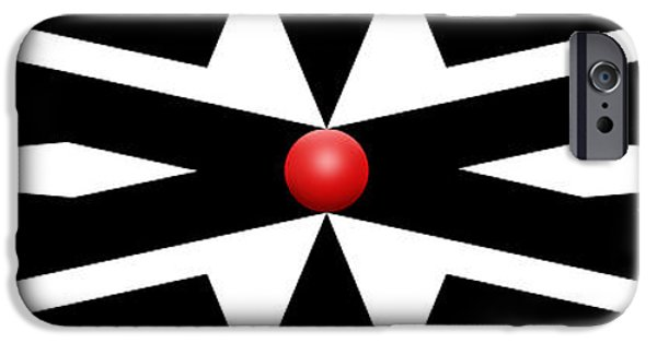 Op iPhone Cases - Red Ball 25a Panoramic iPhone Case by Mike McGlothlen