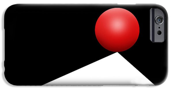 Op iPhone Cases - Red Ball 29 iPhone Case by Mike McGlothlen