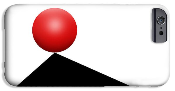 Op iPhone Cases - Red Ball 30 iPhone Case by Mike McGlothlen
