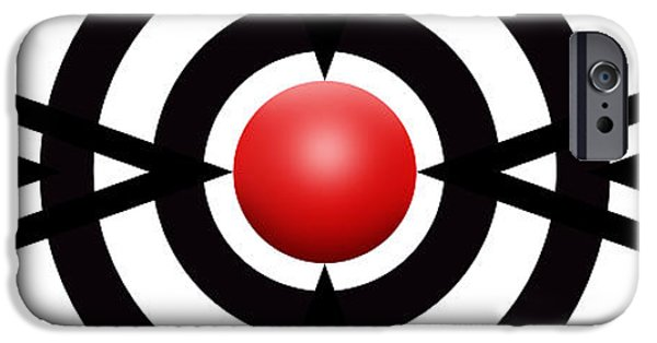 Modern Abstract iPhone Cases - Red Ball 6 Panoramic iPhone Case by Mike McGlothlen