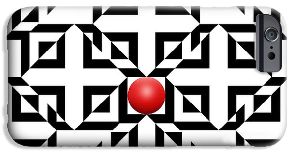 Modern Abstract Drawings iPhone Cases - Red Ball 5a  iPhone Case by Mike McGlothlen