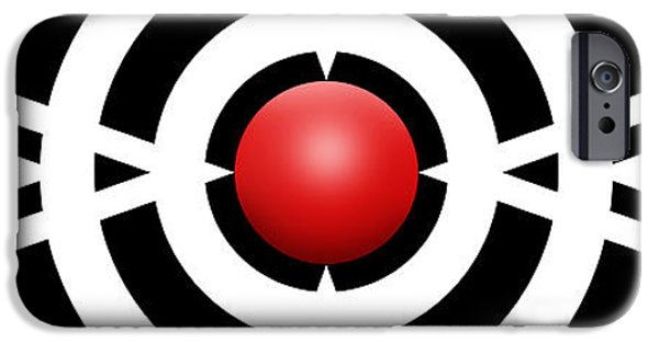 Modern Abstract iPhone Cases - Red Ball 6a Panoramic iPhone Case by Mike McGlothlen