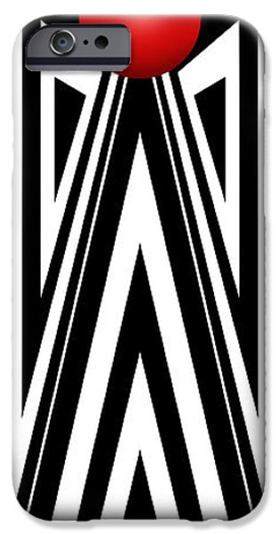 Modern Abstract Drawings iPhone Cases - Red Ball 7 V Panoramic iPhone Case by Mike McGlothlen