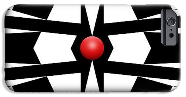 Modern Abstract iPhone Cases - Red Ball 9a Panoramic iPhone Case by Mike McGlothlen