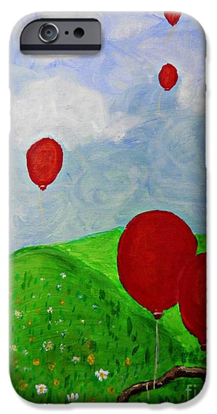 Balloon Flower iPhone Cases - Red Balloons iPhone Case by Sarah Loft