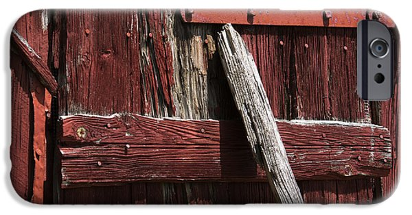 Asymmetrical iPhone Cases - Red Barn Abstract iPhone Case by Rebecca Sherman