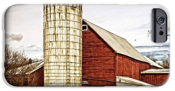Silos iPhone Cases - Red Barn and Silo Vermont iPhone Case by Edward Fielding