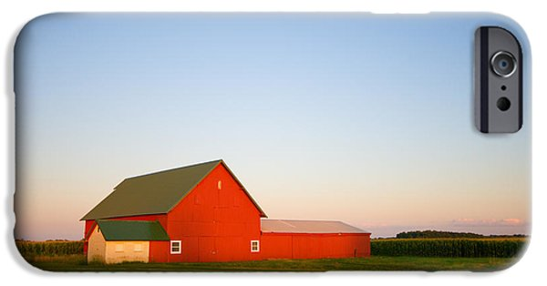 Indiana Landscapes Photographs iPhone Cases - Red Barn and the Moon iPhone Case by Alexey Stiop