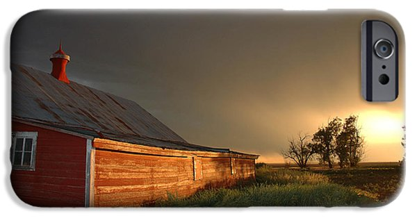 Nebraska iPhone Cases - Red Barn at Sundown iPhone Case by Jerry McElroy