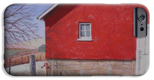 Old Barns Pastels iPhone Cases - Red Barn iPhone Case by Deborah Burow