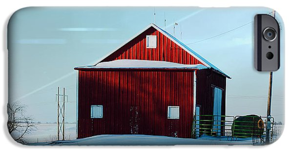 Red Barn In Winter iPhone Cases - Red Barn During Illinois Winter iPhone Case by Luther   Fine Art