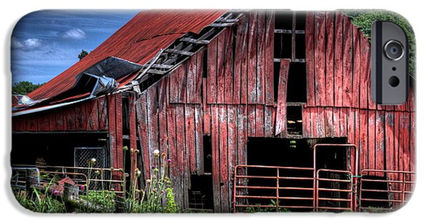 Old Barns Pyrography iPhone Cases - Red Barn iPhone Case by Edward Cooper