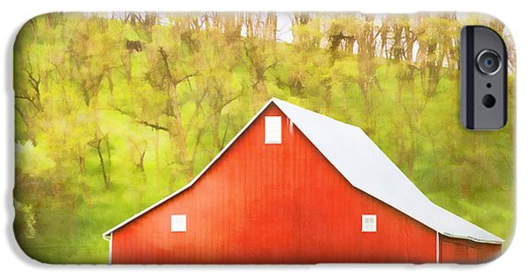 Red Barn iPhone Cases - Red Barn Green Hillside iPhone Case by Carol Leigh