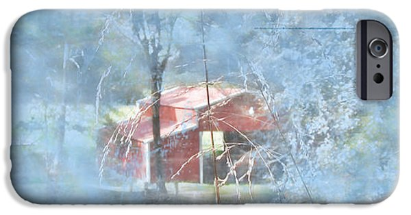 Red Barn In Winter iPhone Cases - Red Country Barn with Blue iPhone Case by Marty Malliton