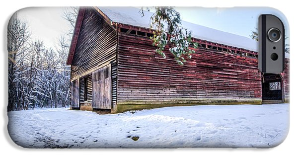 Red Barn In Winter iPhone Cases - Red Barn in Cades Cove iPhone Case by Lori Douthat
