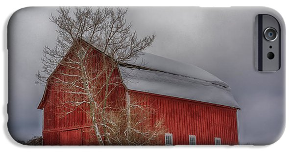 Red Barn In Winter iPhone Cases - Red Barn in HDR iPhone Case by Guy Whiteley