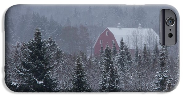 Red Barn In Winter iPhone Cases - Red Barn in Maine iPhone Case by Jack Zievis